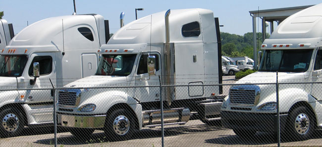 Freightliner trucks lead the Class 8 market share pack year-to-date. (Photo by Deborah Lockridge.)