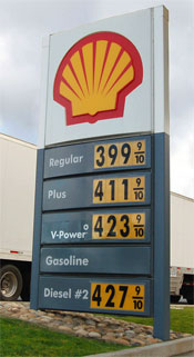 Prices at a San-Francisco area filling station.