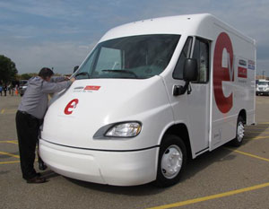 FCCC and Enova introduced their E-Cell electric van last year at the Hybrid Truck Users Forum meeting in Dearborn, Mich. (Photo by Tom Berg)