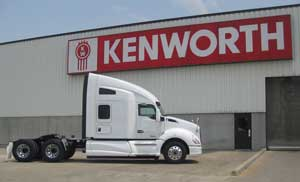 The first production model of the new, aerodynamic Kenworth T680 rolls off the Kenworth Truck Company assembly plant in Chillicothe, Ohio.