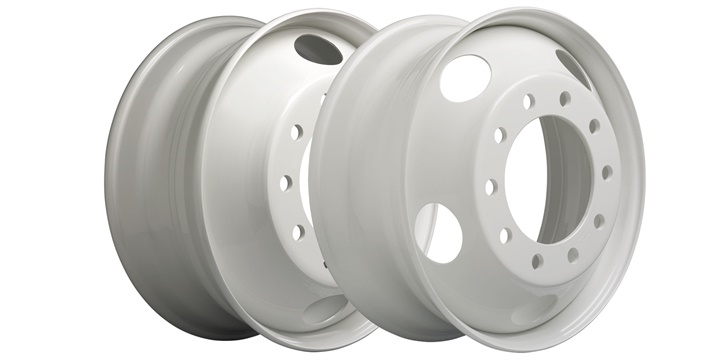 Two 22.5 x 8.25 steel wheels new to the Accu-Lite line. Photo: