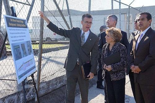 Sen. Barbara Boxer visiting a bridge project in Los Angeles. Photo: