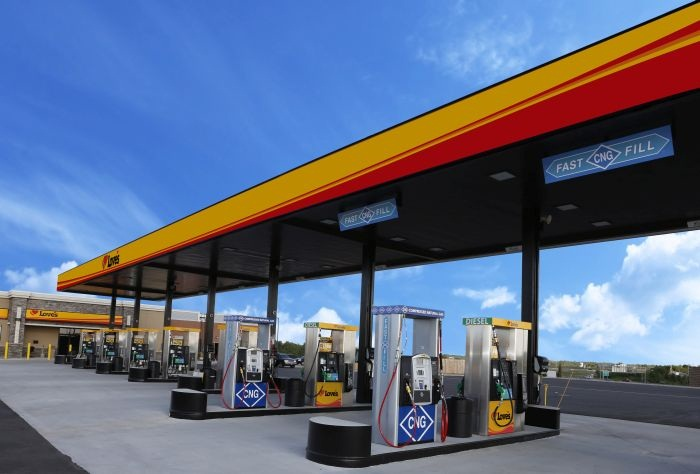 The Choctaw, Okla., Love s with fast fill CNG. Photo courtesy of Love
