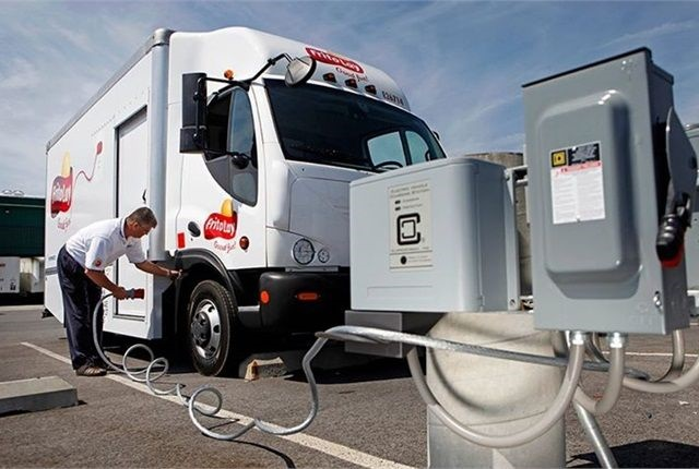 Photo of Frito-Lay electric truck charging at Clipper Creek charging
