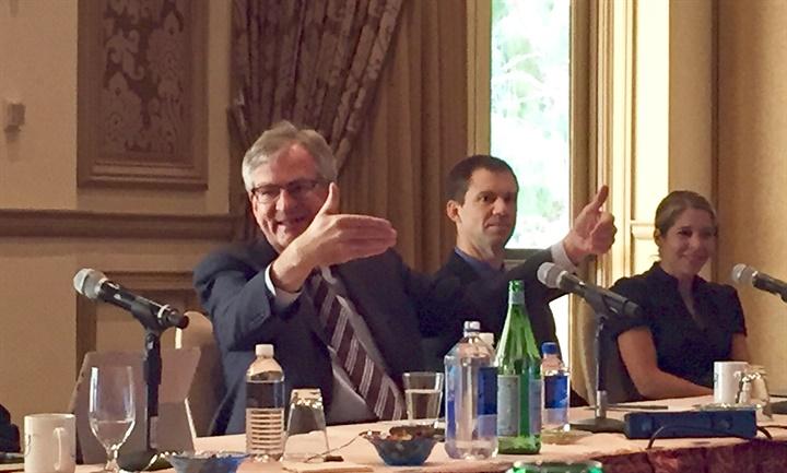 DTNA CEO Martin Daum talks to trucking journalists. Photo: Deborah