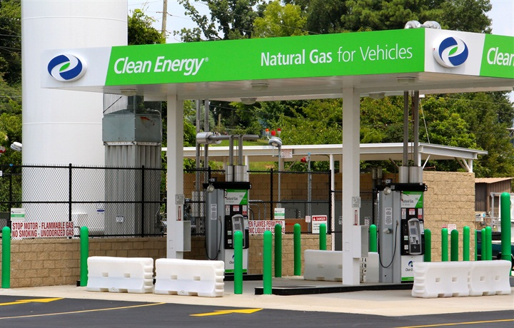 A natural gas fueling station getting ready to open. Photo: Evan
