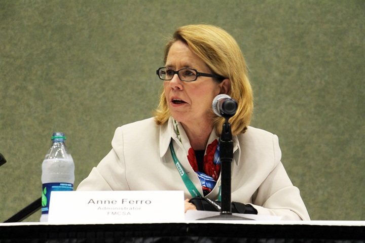 Outgoing FMCSA Administrator Anne Ferro at a listening session at the