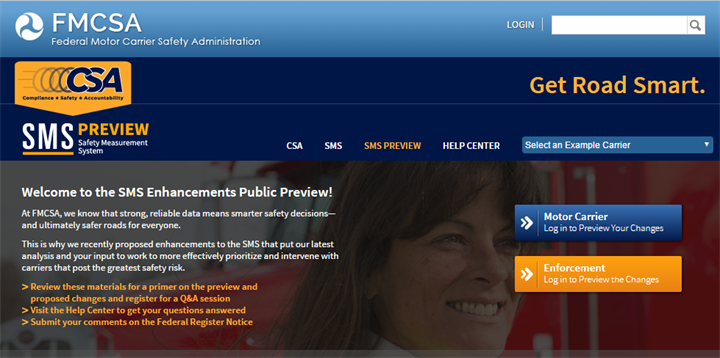 Screenshot of FMCSA s preview site for proposed SMS changes.