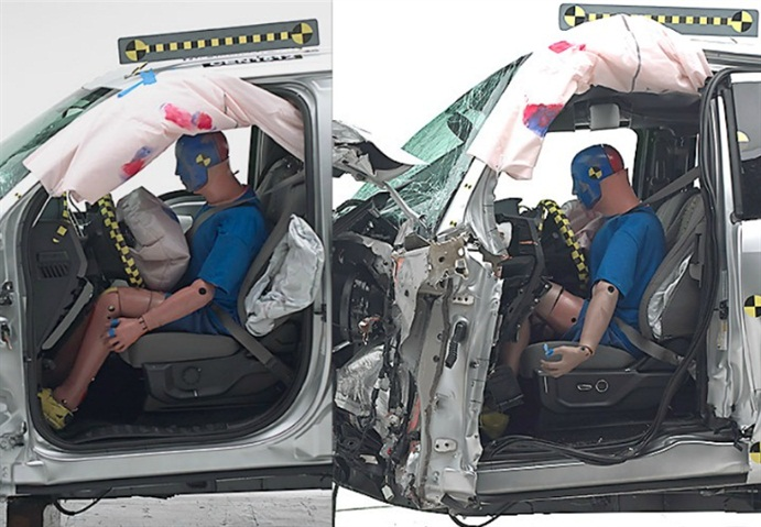 Photos of crash-testing of the crew cab (left) and extended cab models