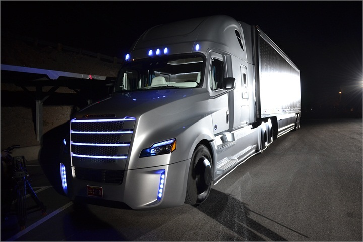 Freightliner Inspriation autonomous truck at its rollout last Spring.