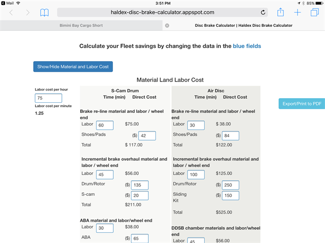 Haldex s new online calculator allows the fleet to input a number of