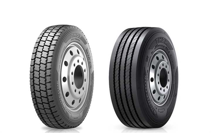 The Hankook DH07 drive position tire (left) and the TH22 low platform