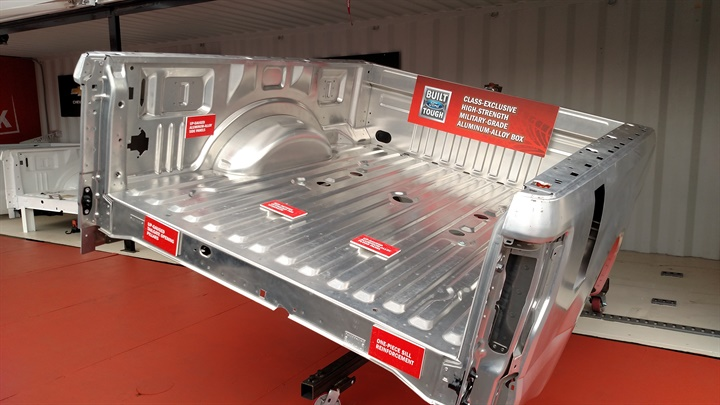 Aluminum cargo bed is stronger and lighter than steel, Ford says.