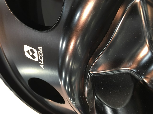 Alcoa displayed a few prototype black aluminum wheels at the