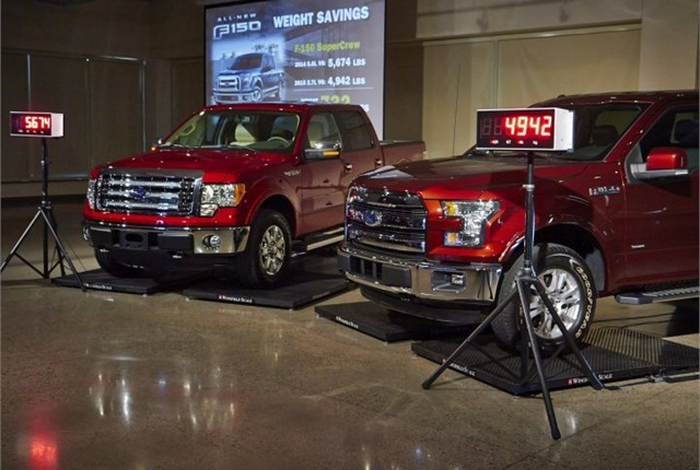 Ford executives showed two trucks on scales to demonstrate the