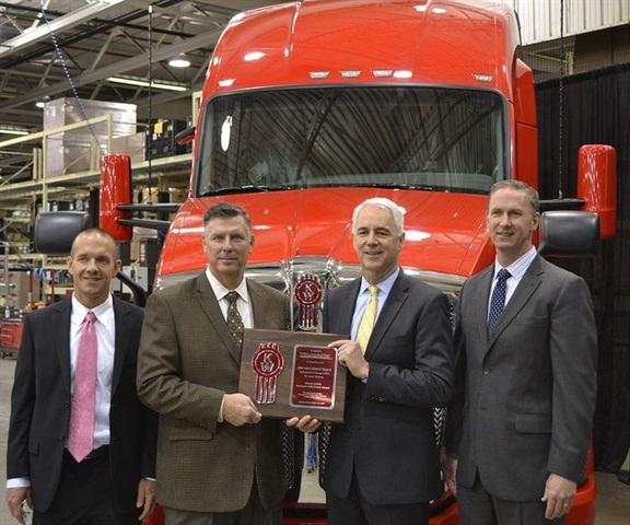 From left are TransAm Trucking's Murray Droescher (chief