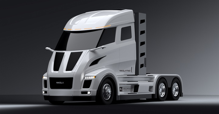 The Nikola Two daycab verison of the hydrogen electric truck. Photo: