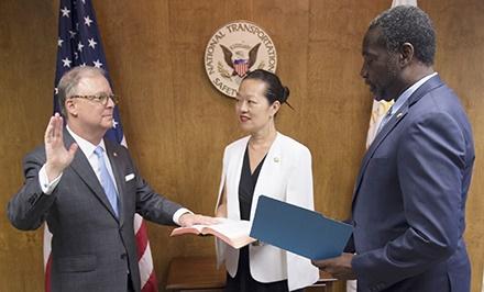 Robert L. Sumwalt III (left) sworn in as the National Transportation