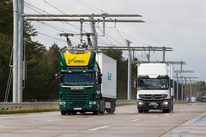 Overhead lines, like these in Siemens  Swedish demo eHighway, will