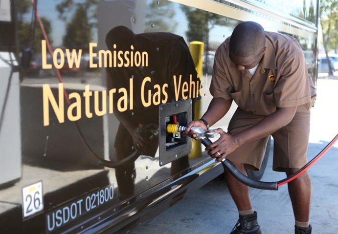 Photo of a UPS CNG vehicle courtesy of UPS.