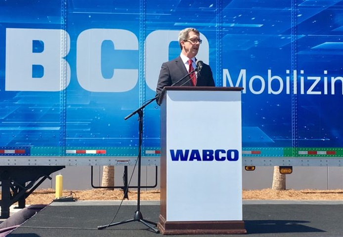 Wabco s Jon Morrison at the grand opening of the company s new