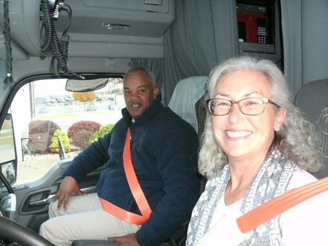 FMCSA Administrator Scott Darling and professional driver Stephanie