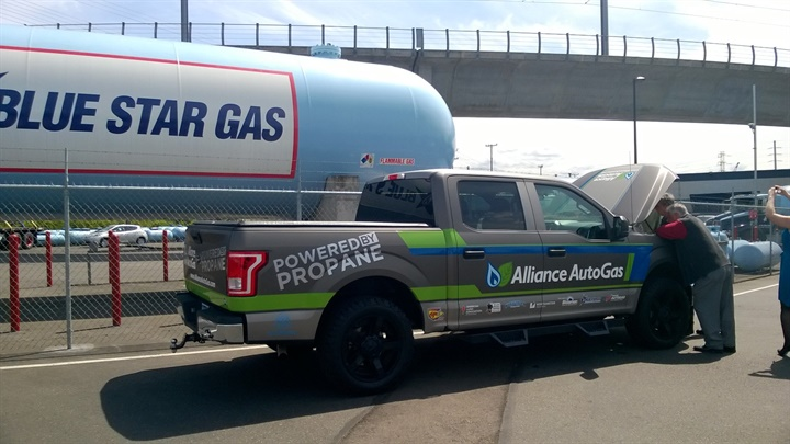 The propane-autogas-powered pickup has so far traveled from Kansas,