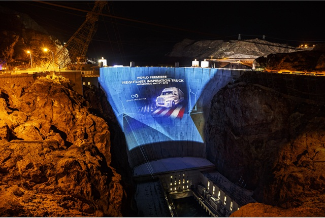 Daimler Trucks North America used Hoover Dam to create a record-setting display to premier its Inspiration Truck. Photo: Daimler Trucks
