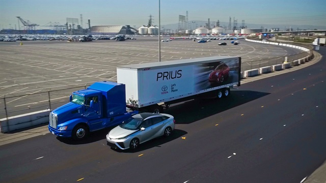Toyota's Hydrogen Fuel Cell powered Class-8 proof-of-concept is seen operating in the Port of Long Beach. Photos: Toyota
