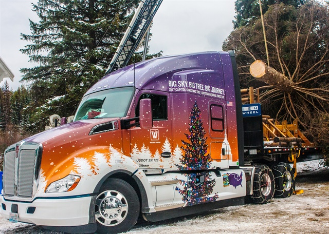 The U.S. Capitol Christmas Tree is 76 years old and weighed in at harvest at about 15,000 pounds. Transporting the tree to Washington D.C. is a Kenworth T680 Advantage. Photo by James Edward Mills/Choose Outdoors