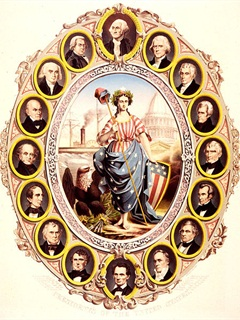 A large, patriotic print probably issued around the time of Abraham Lincoln's inauguration. Columbia stands before the U.S. Capitol. Beside her is an eagle, holding a streamer with the motto 'E Pluribus Unum.' A steamship is visible in the background left. The central scene is framed by oval portraits of the first sixteen presidents of the United States, with George Washington at the top and a beardless Abraham Lincoln at the bottom. Credit: Wikimedia Commons
