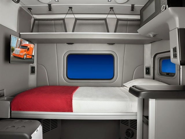 Peterbilt's 58-inch sleeper is made for weight-sensitive applications and includes the amenities of Peterbilt's larger sleeper configurations. Photo: Peterbilt