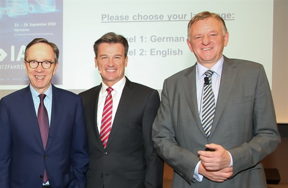 From left, powerhouses in the German commercial vehicle industry: Matthias Wissmann, head of the VDA;Dr. Wolfgang Bernhard, head of Daimler Trucks and Buses; and  Andreas Renschler, chief executive of Volkswagen Truck & Bus Group. Photo: Sven-Erik Lindstrand
