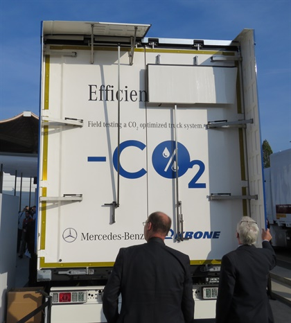 """Krone trailer's aero treatment includes four-part folding """"rear wing,"""" made of robust plastic. Photo: David Cullen"""