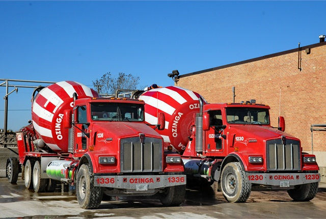 Ozinga operates 40 concrete mixers from the Des Plaines terminal, all fueled on CNG. Photo: Jim Park