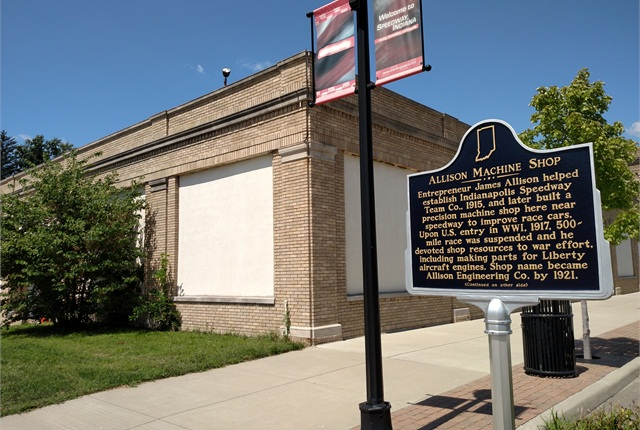 "Historical marker on Main Street in Speedway, Ind., commemorates the building that housed James Allison's machine shop and ""speedway team."" Today's Allison Transmission headquarters is several blocks away in Indianapolis. Photo by Tom Berg"
