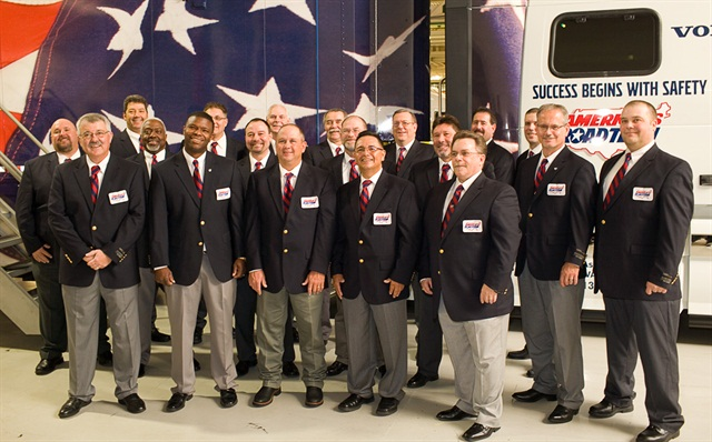 America's Road Team was honored at the Volvo event. Photo courtesy Volvo Trucks