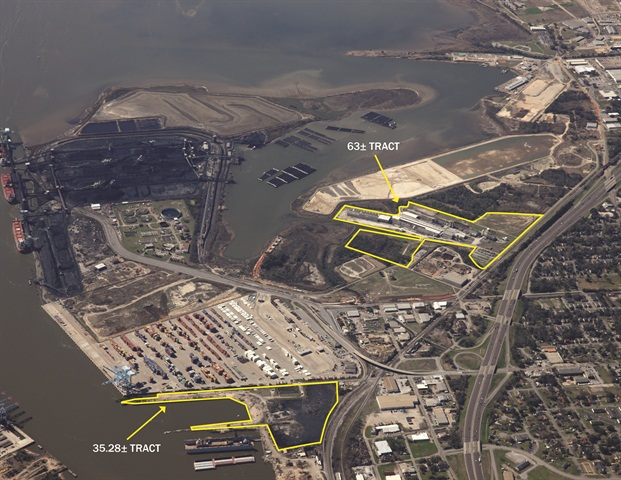 Aerial view of Alabama State Port Authority's land acquisitions this week.