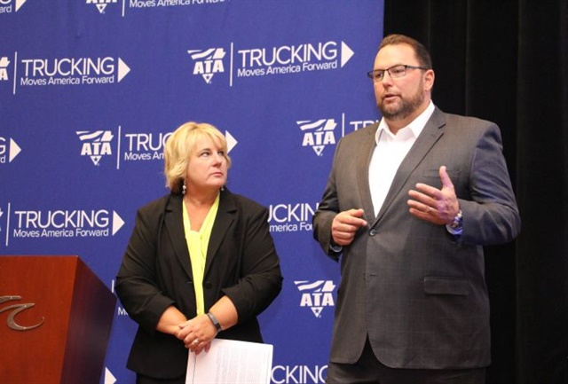 Rebecca Brewster (left), president and chief operating officer of ATRI along with Derek Leathers, ATRI board member and Werner Enterprises president and CEO, give details of ATRI's latest survey of the biggest issues concerning the trucking industry. Photo: Evan Lockridge