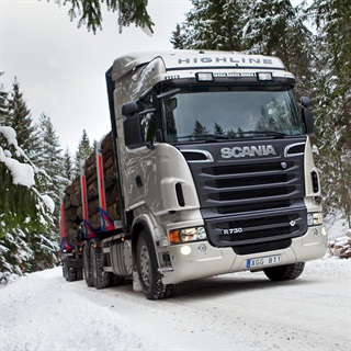 Scania log transporter, 72 ton GCW, powered by a 730-horsepower V-8 diesel.