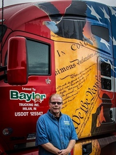 Veteran drivers at Baylor Trucking drive special patriotic-wrapped trucks. Photo: Baylor Trucking