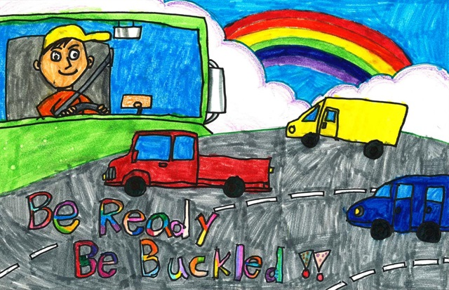 "Art by Annie Yu from Edison, New Jersey, the grand prize winner of the Kindergarten through second grade age group for the 2014 ""Be Ready, Be Buckled"" art contest."""