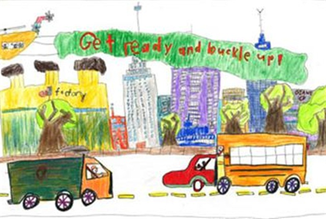 "Second grader Caleb Zhao from Gaithersburg, Md., was the grand prize winner of last year's ""Be Ready. Be Buckled."" art contest for the kindergarten through second grade age group."