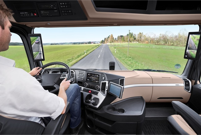 The Mirror Cam System replaces the two side-view mirrors with in-cab monitors. Photo: Bosch