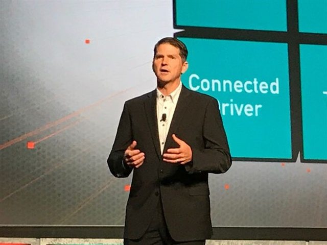 Brian McLaughlin, president of PeopleNet addressing the opening session of the in.sight User Conference + Expo. Photo: Jim Beach