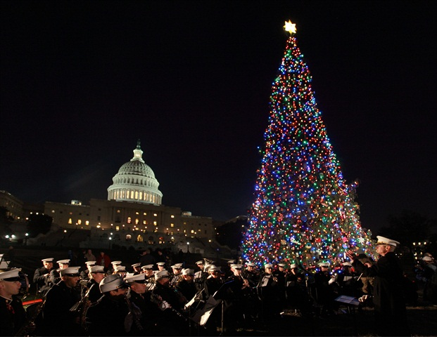 The U.S. Marine Corps Band plays during the lighting ceremony.