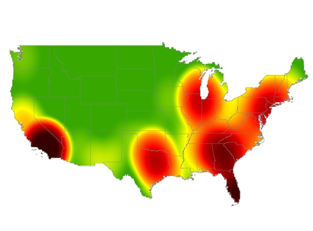 Cargo theft heat map, first quarter 2014. Credit: FreightWatch International