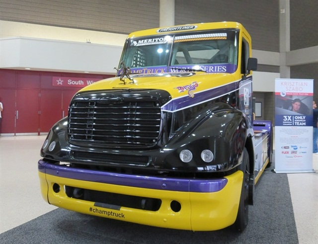 A ChampTruck racing truck on display at the Mid-America Trucking Show. Photo: Deborah Lockridge