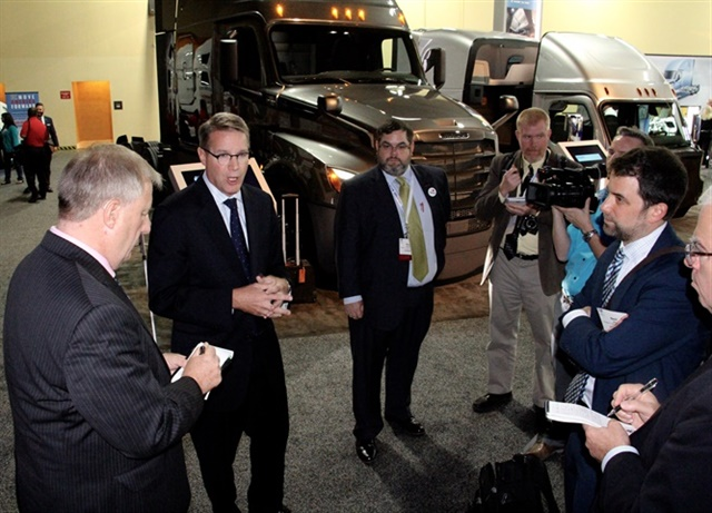 ATA president Chris Spear fielding reporters' queries on autonomous policymaking at last year's Managment Conference and Exhibition. Photo: Evan Lockridge