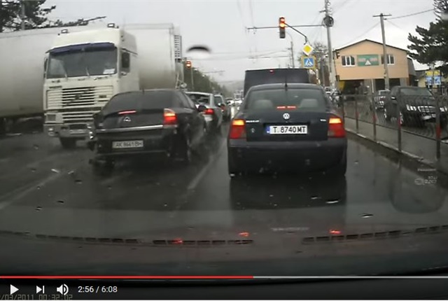 Forward-facing cameras catch the action. Hopefully you're not in the wrong at the time. YouTube screen capture.